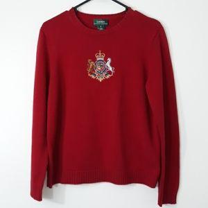 Lauren Ralph Lauren Sz M Crest Embroidered Sweater